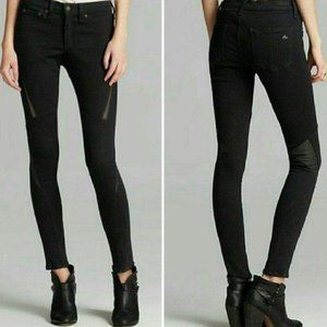 Rag & Bone jeans skinny leather details black